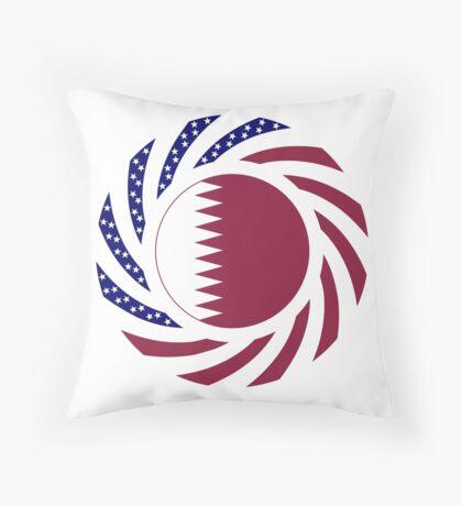 Qatari American Multinational Patriot Flag Series Floor Pillow