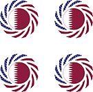 Qatari American Multinational Patriot Flag Series by Carbon-Fibre Media