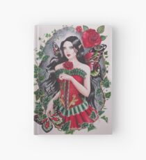 Red rose goth steampunk fairy faerie fantasy Hardcover Journal
