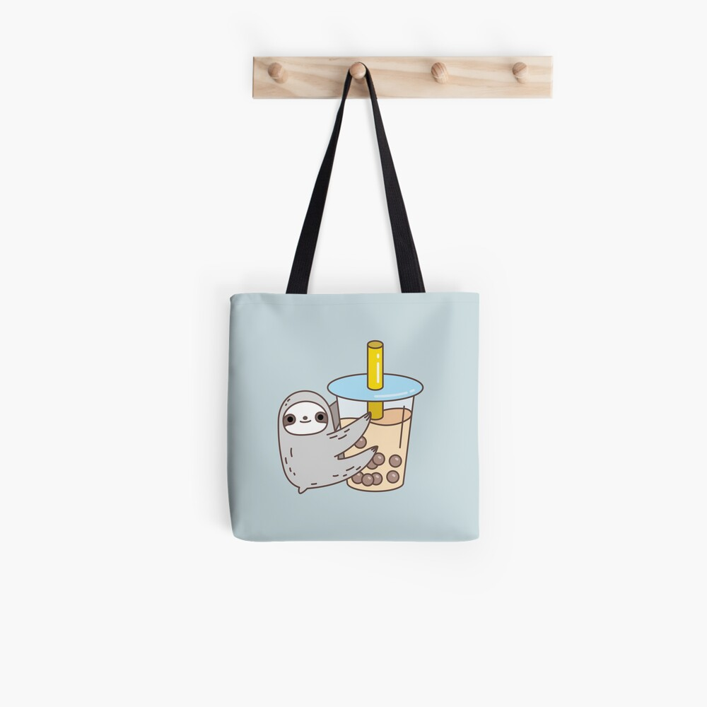 Sloth Loves Bubble Tea Tote Bag