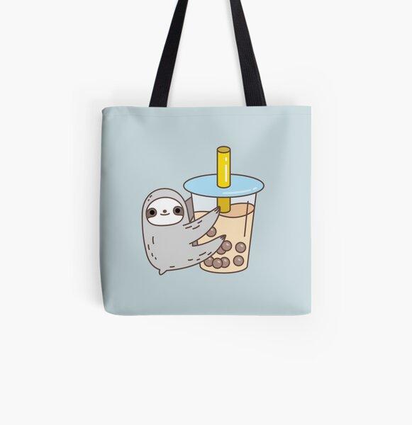 Sloth Loves Bubble Tea All Over Print Tote Bag