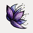 Abstrakte Blumen-Gekritzel-Tinten-Aquarell-Zeichnung von Boriana Giormova