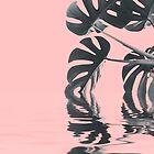 Pastellrosa Monstera-Blatt-ruhiges Wasser von Sunnytime