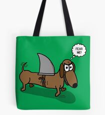Wiener Dog with a Shark Fin Tote Bag
