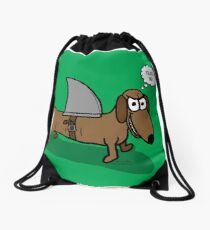 Wiener Dog with a Shark Fin Drawstring Bag