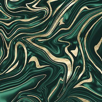 Emerald Green Black Gold Marble #1 #decor #art by anitabellajantz