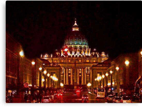 St. Peter's Basilica At Night by Al Bourassa