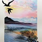 Watery sunset and Terns. by Robert David Gellion