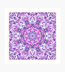 Purple Pink and White Mandala Art Print