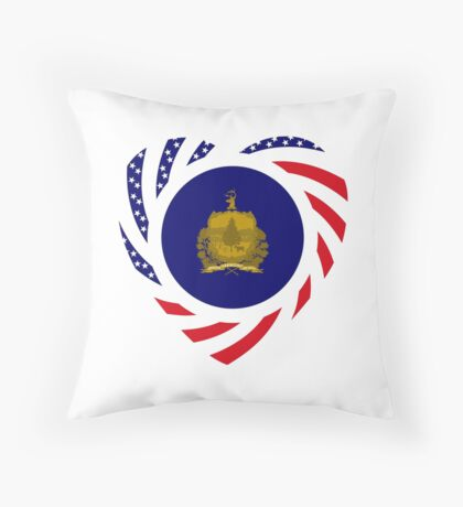 Vermont Murican Patriot Flag Series Throw Pillow