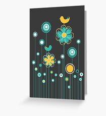 Whimsical Garden Birds and Flowers Greeting Card