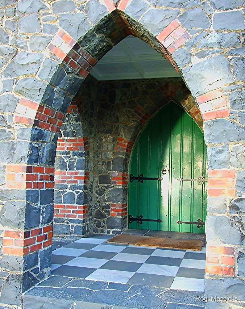 The Green Door of St Paul's, Paihia, New Zealand. by Roy  Massicks