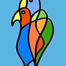 «Pájaros en amor en el tablero azul» de Istvan Ocztos