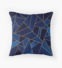 Blue Stone / Yellow Lines Throw Pillow