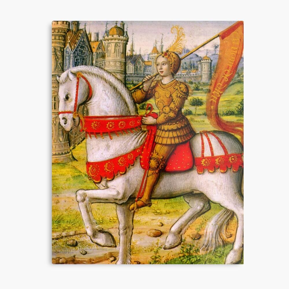 Jeanne d'Arc zu Pferd Metallbild