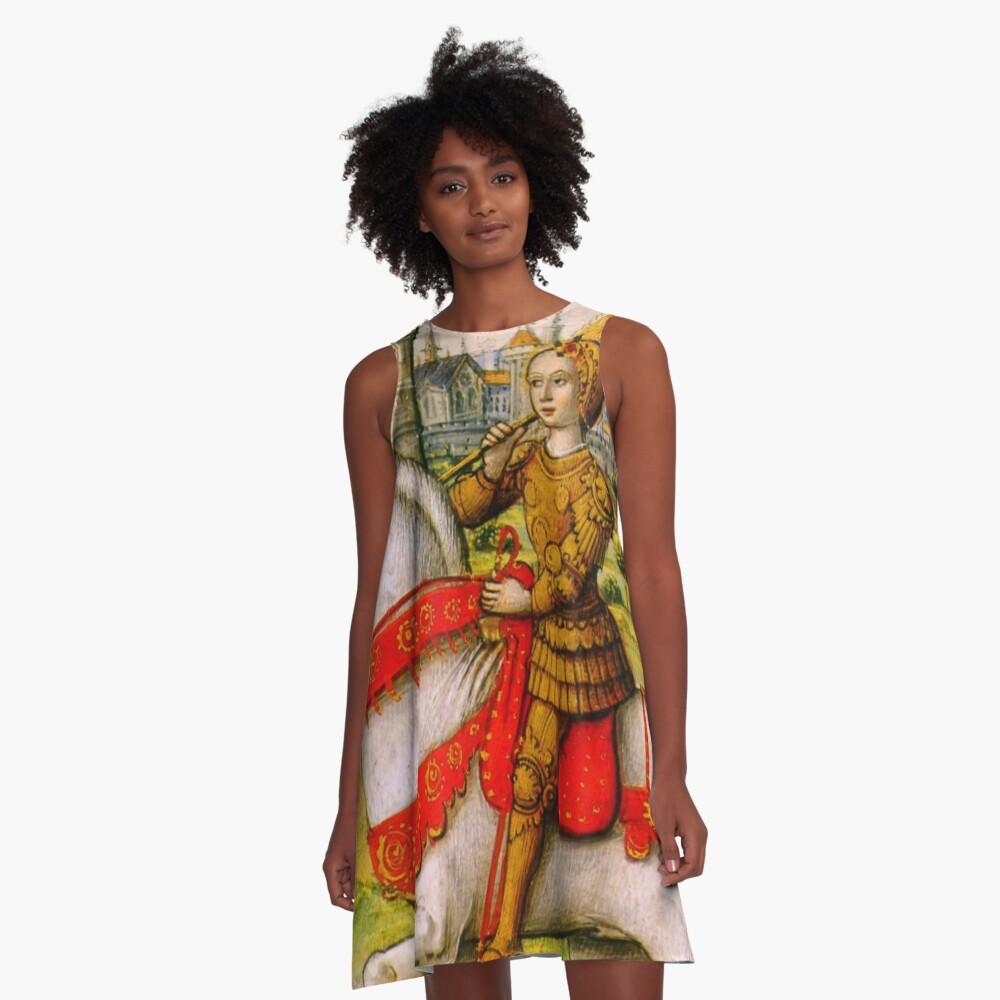 Jeanne d'Arc zu Pferd A-Linien Kleid