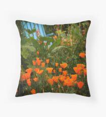 California Poppies In The Garden Throw Pillow