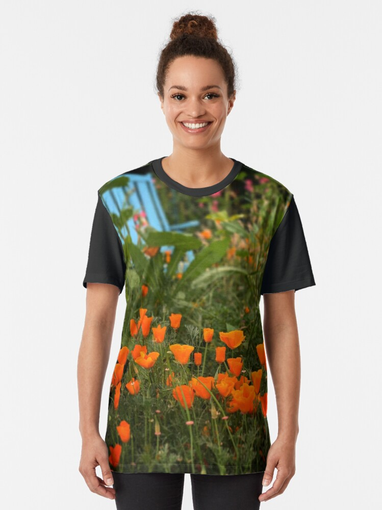 Alternate view of California Poppies In The Garden Graphic T-Shirt