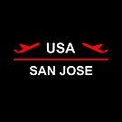 San Jose USA Airport Plane Dark Color by TinyStarAmerica