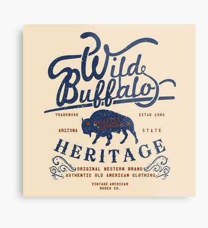 Wild Buffalo Arizona State Retro Label Metal Print