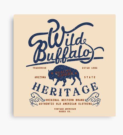 Wild Buffalo Arizona State Retro Label Canvas Print
