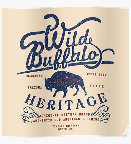 Wild Buffalo Arizona State Retro Label Poster