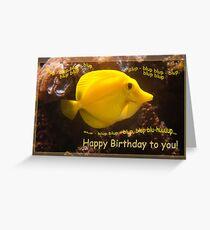 Happy Yellow fish - blup-blup birthday card Greeting Card