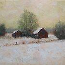 Two Barns, Winter by bauwau-design