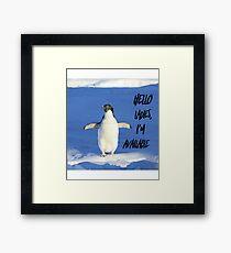 Hello Ladies I'm Available, penguin t-shirt Framed Print