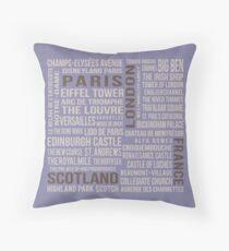 France, London, Scotland, Paris Throw Pillow