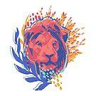 «Cabeza masculina de león decorada con hojas abstractas y arbustos.» de Ekaterina Glazkova