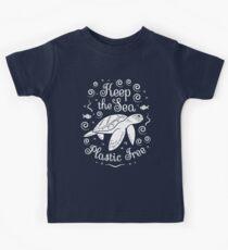 Rette unser Meer - halte das Meer plastisch - Schildkröte Kinder T-Shirt