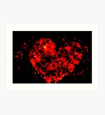 Burning ember heart Art Print