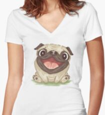 Happy Pug Women's Fitted V-Neck T-Shirt