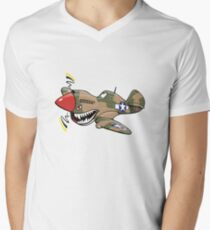 P-40 warhawk cartoon plane Men's V-Neck T-Shirt