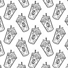 Black and White Iced Coffee- Kawaii Doodle Pattern by TimorousEclectc