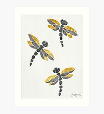 Dragonflies - Black & Golden Art Print