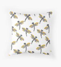 Dragonflies - Black & Golden Throw Pillow