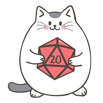 Gato gordo con dados poliédricos D20 de pixeptional