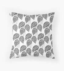 Leaves with Stains - Black & White Throw Pillow