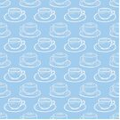 White and Blue Coffee Cups - Kawaii Doodle Pattern by TimorousEclectc