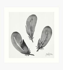 Watercolor Feathers - Black & White Art Print