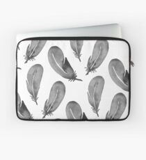 Watercolor Feathers - Black & White Laptop Sleeve
