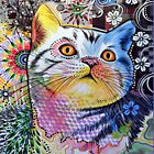 Abstract Colored Cat by Josie31