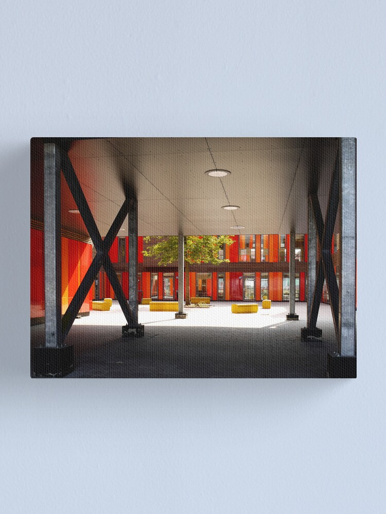 Alternate view of Het 4e Gymnasium - courtyard Canvas Print