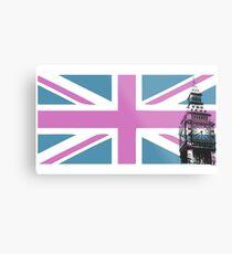Union Jack and Big Ben, London, UK, Pink and Purple Metal Print