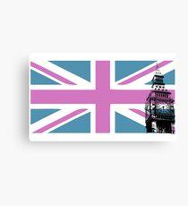 Union Jack and Big Ben, London, UK, Pink and Purple Canvas Print