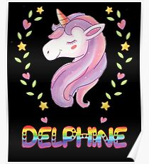 Delphine Unicorn Rainbow Heart Text - Special Personalised Gift For Delphine Poster