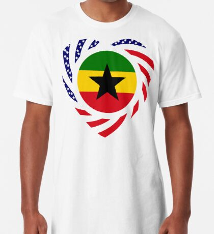 Ghanaian American Multinational Patriot Flag Series Long T-Shirt