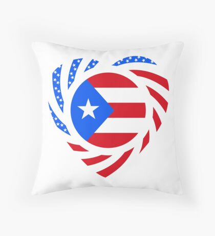 Puerto Rican American Multinational Patriot Flag Series 2.0 Throw Pillow